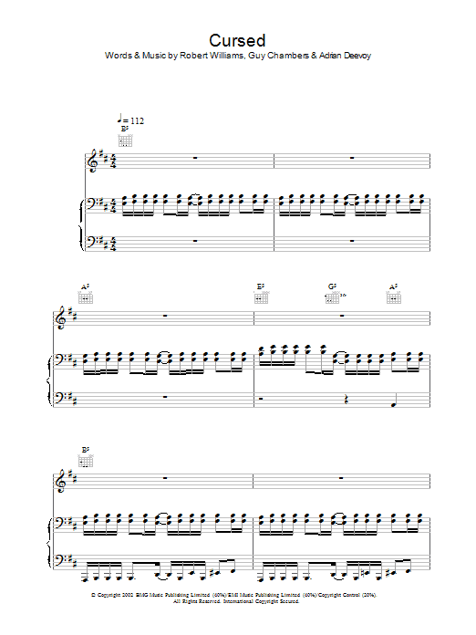 Robbie Williams Cursed sheet music preview music notes and score for Melody Line, Lyrics & Chords including 2 page(s)