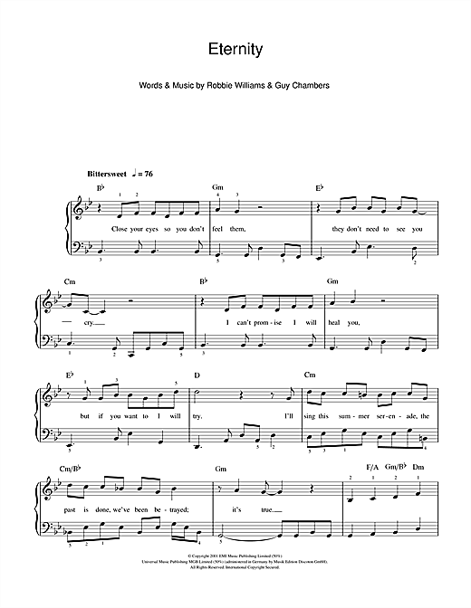 Robbie Williams Eternity sheet music notes and chords
