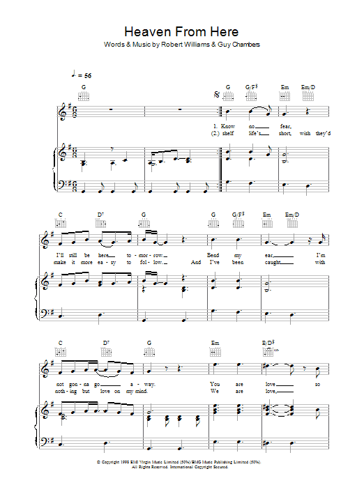 Robbie Williams Heaven From Here sheet music preview music notes and score for Piano, Vocal & Guitar (Right-Hand Melody) including 5 page(s)