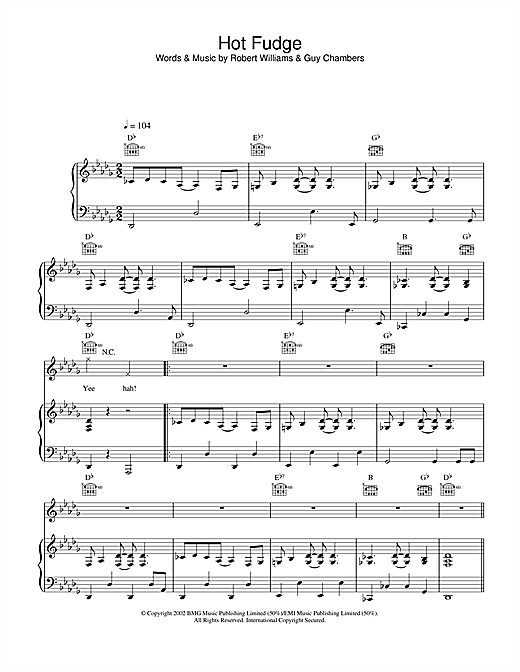 Robbie Williams Hot Fudge sheet music notes and chords