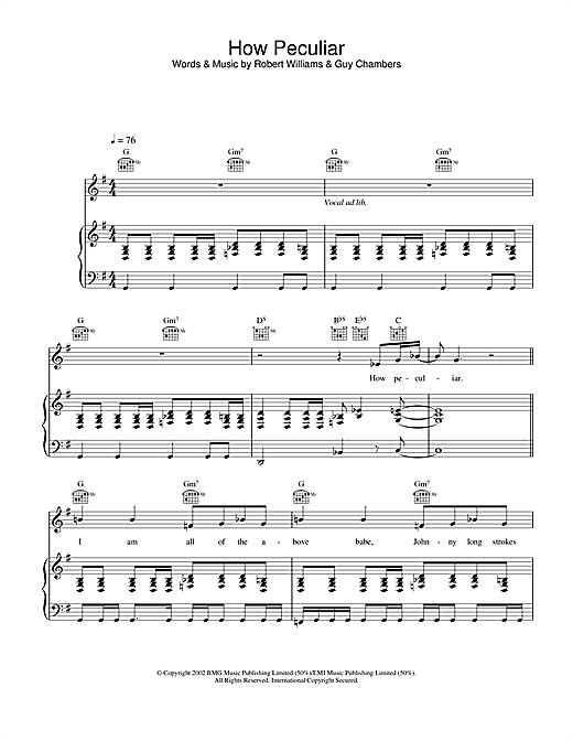 Robbie Williams How Peculiar sheet music notes and chords