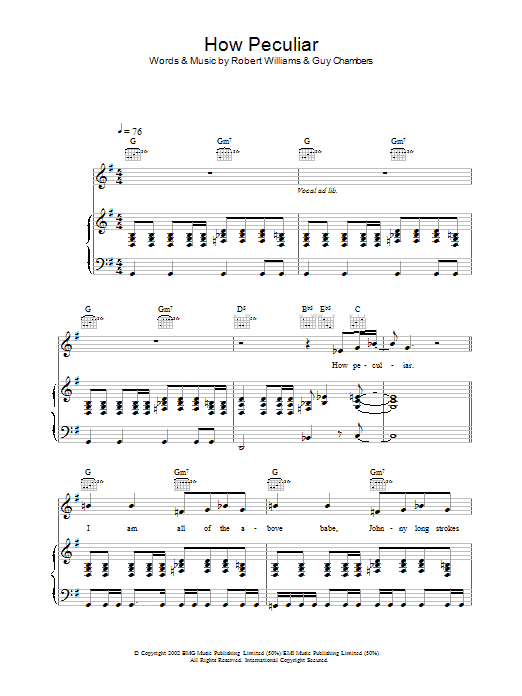 Robbie Williams How Peculiar sheet music preview music notes and score for Melody Line, Lyrics & Chords including 2 page(s)