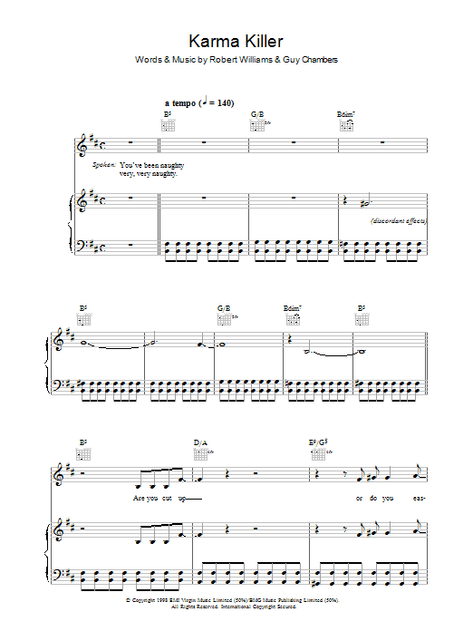 Robbie Williams Karma Killer sheet music preview music notes and score for Piano, Vocal & Guitar (Right-Hand Melody) including 10 page(s)