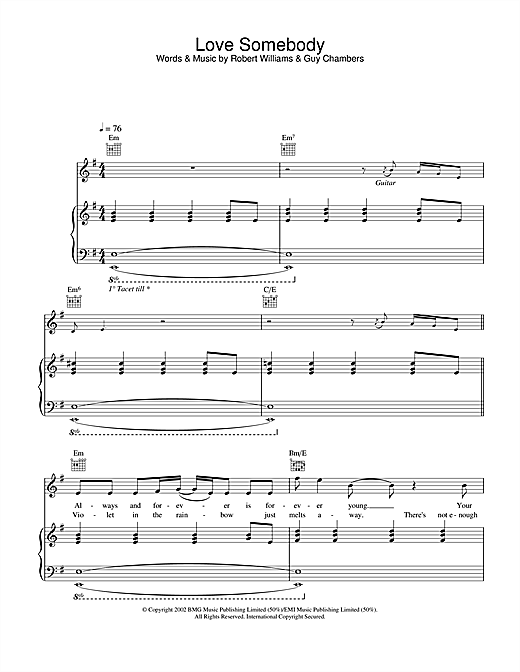 Robbie Williams Love Somebody sheet music notes and chords