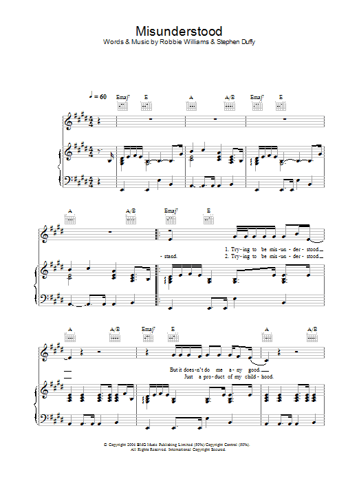 Robbie Williams Misunderstood sheet music preview music notes and score for Piano, Vocal & Guitar including 4 page(s)