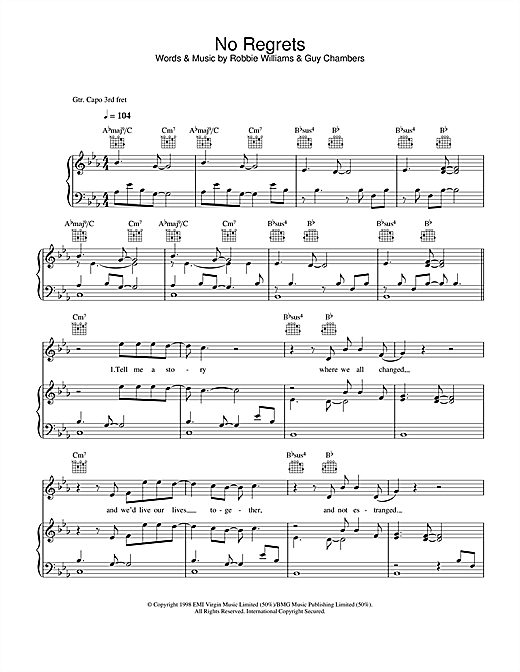 Robbie Williams No Regrets sheet music notes and chords