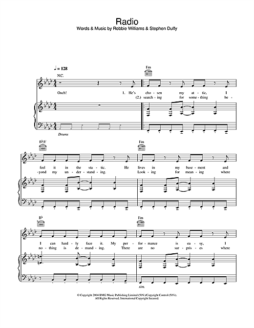 Robbie Williams Radio sheet music notes and chords