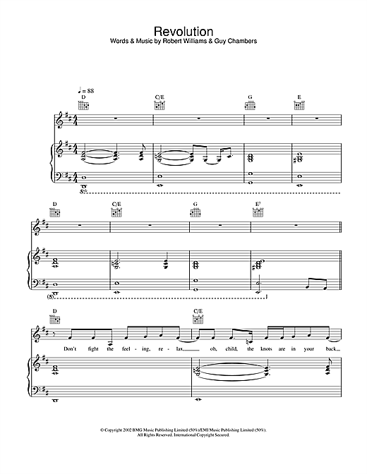 Robbie Williams Revolution sheet music notes and chords