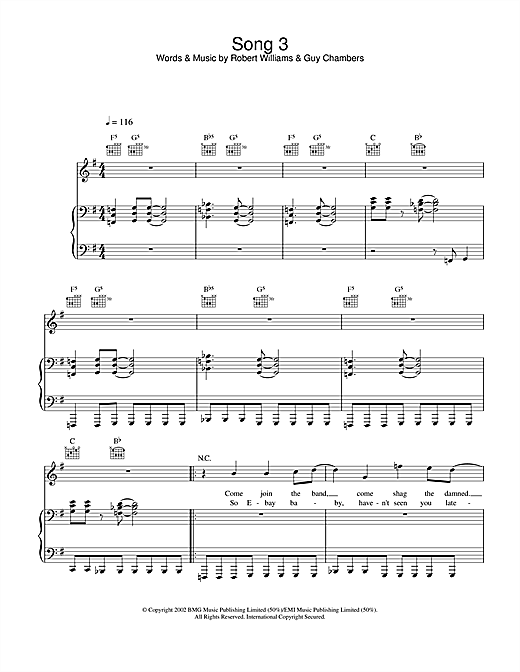 Robbie Williams Song 3 sheet music notes and chords