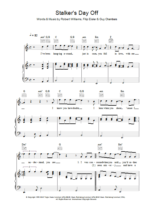 Robbie Williams Stalker's Day Off sheet music preview music notes and score for Piano, Vocal & Guitar (Right-Hand Melody) including 4 page(s)