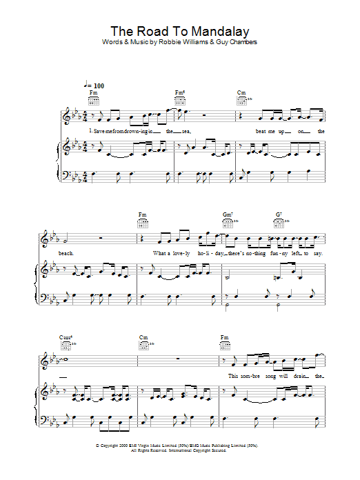Robbie Williams The Road To Mandalay sheet music preview music notes and score for Piano, Vocal & Guitar including 6 page(s)