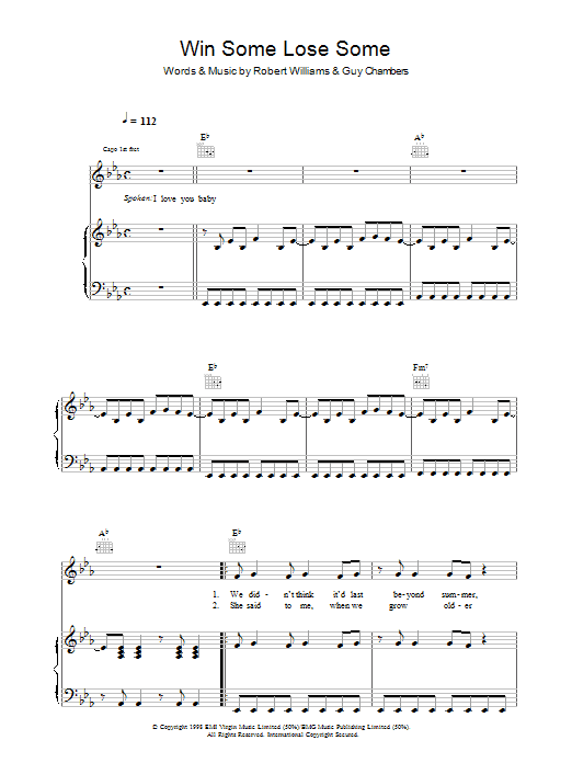 Robbie Williams Win Some Lose Some sheet music preview music notes and score for Piano, Vocal & Guitar (Right-Hand Melody) including 9 page(s)