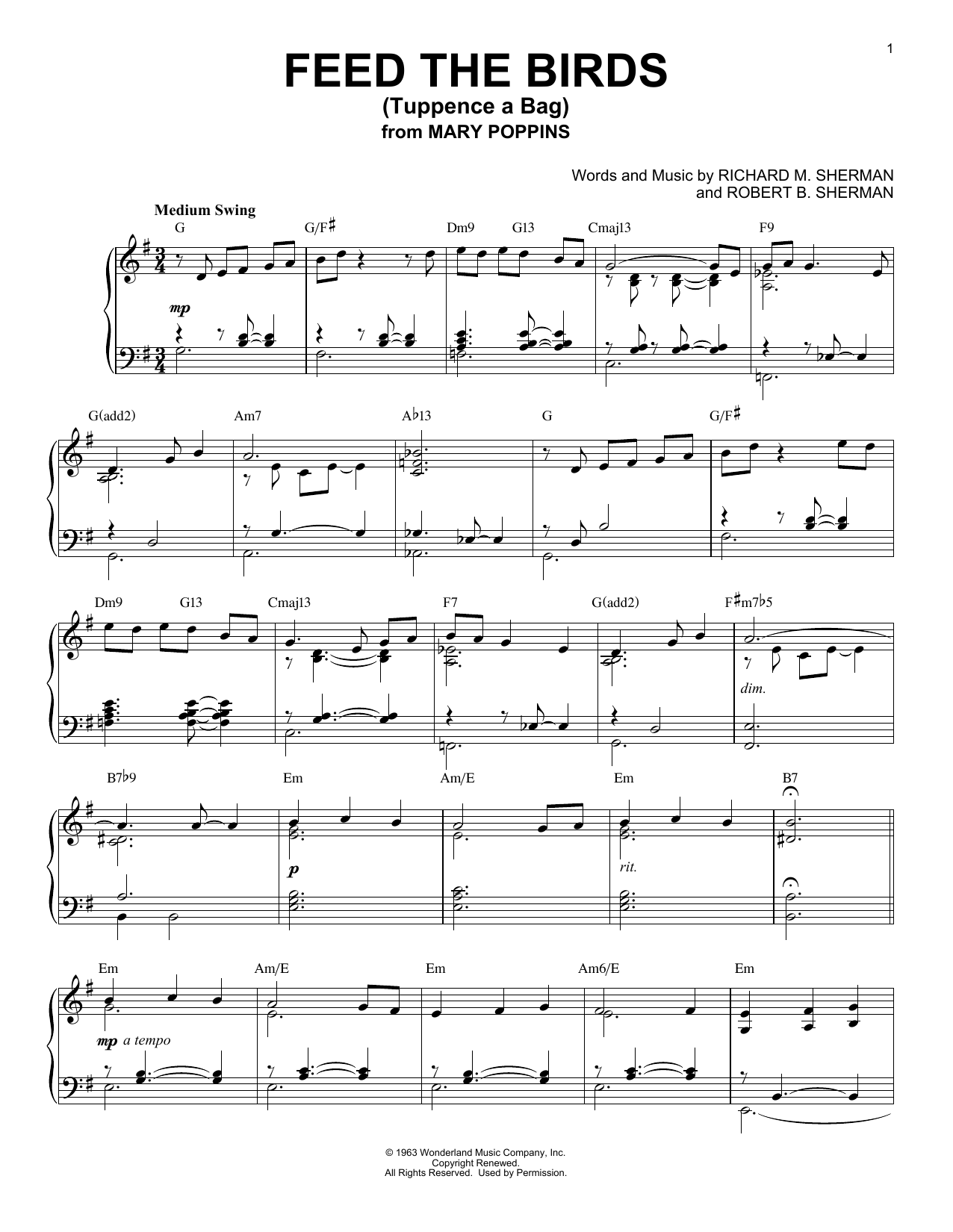 Download Robert B. Sherman 'Feed The Birds (Tuppence A Bag)' Digital Sheet Music Notes & Chords and start playing in minutes