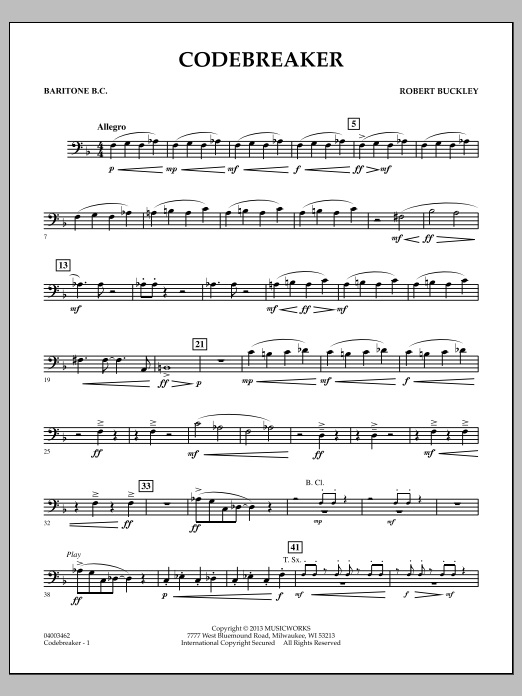Robert Buckley Codebreaker - Baritone B.C. sheet music notes and chords