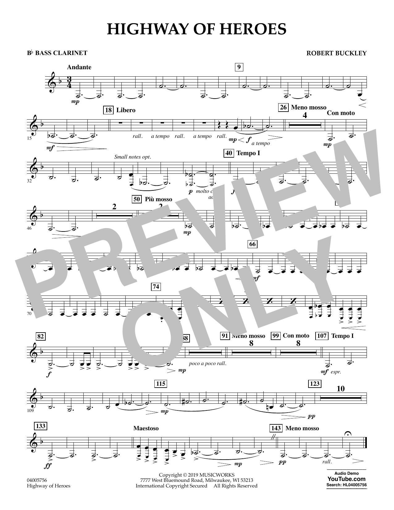 Robert Buckley Highway of Heroes - Bb Bass Clarinet sheet music preview music notes and score for Concert Band including 1 page(s)