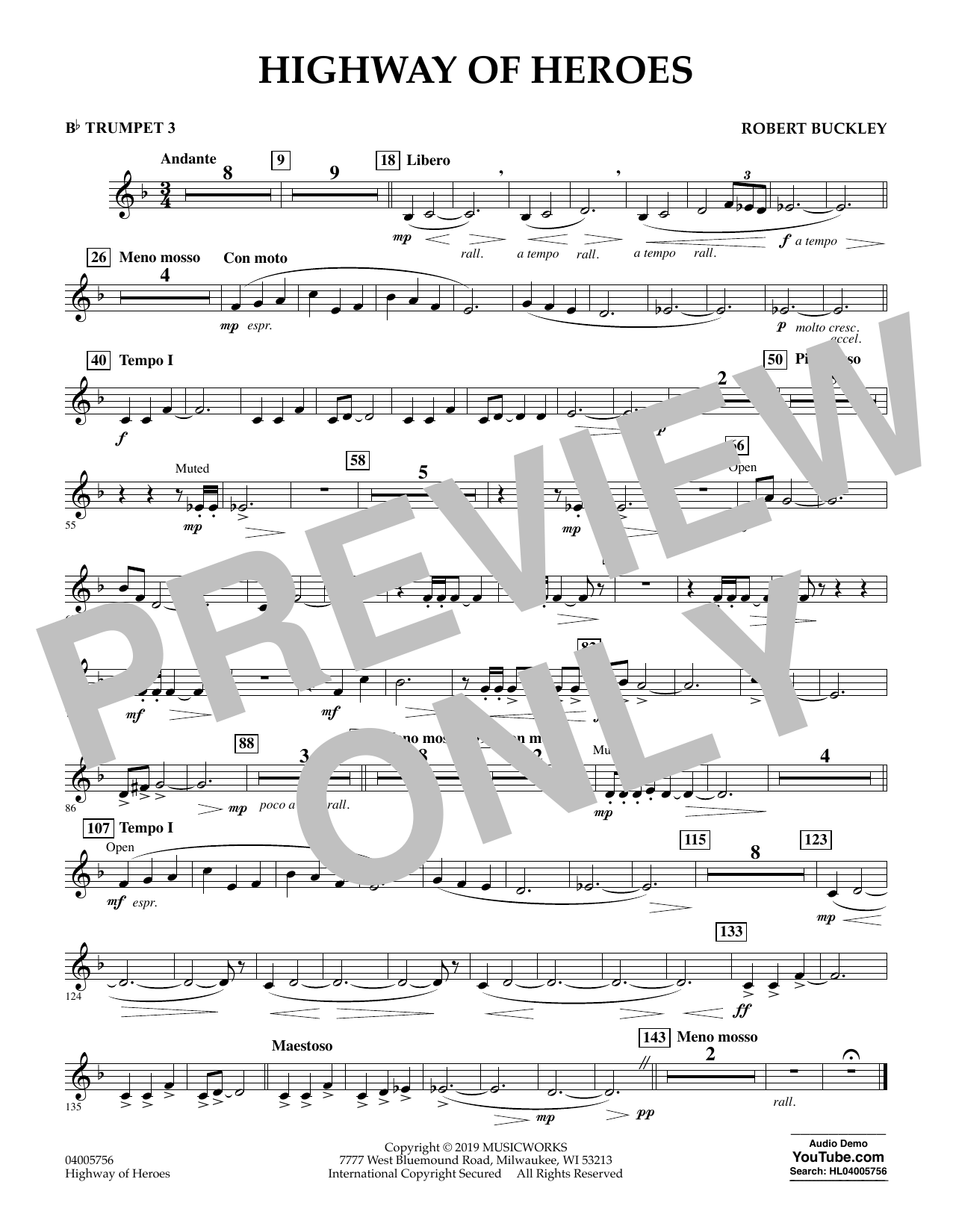 Robert Buckley Highway of Heroes - Bb Trumpet 3 sheet music preview music notes and score for Concert Band including 1 page(s)