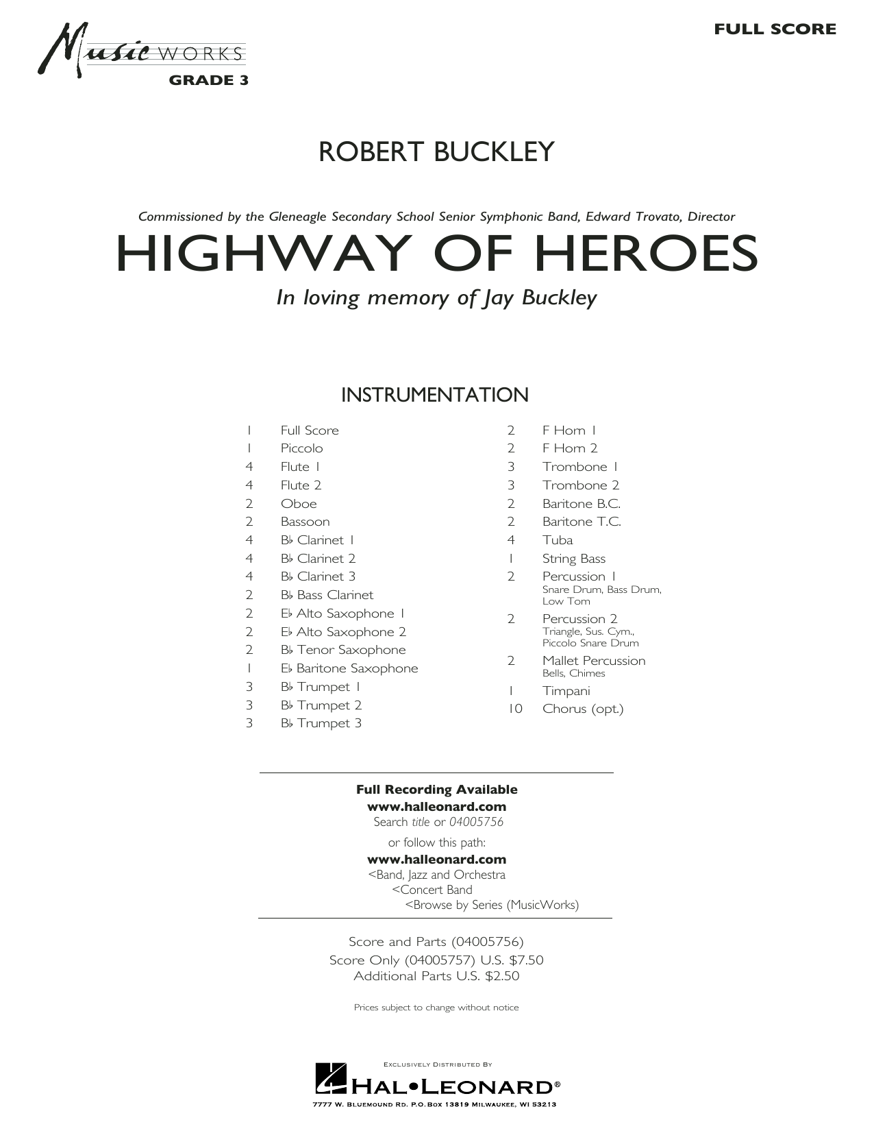 Robert Buckley Highway of Heroes - Conductor Score (Full Score) sheet music preview music notes and score for Concert Band including 20 page(s)