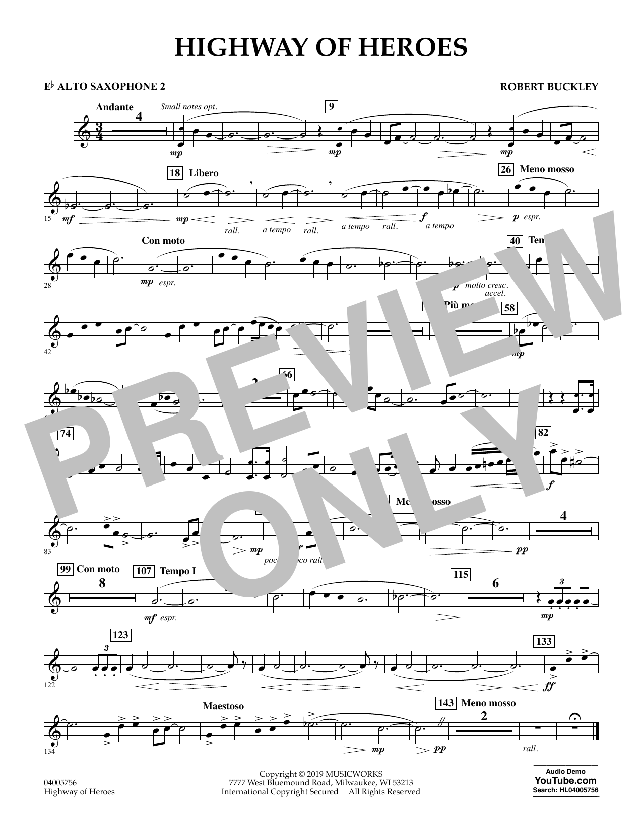 Robert Buckley Highway of Heroes - Eb Alto Saxophone 2 sheet music preview music notes and score for Concert Band including 1 page(s)