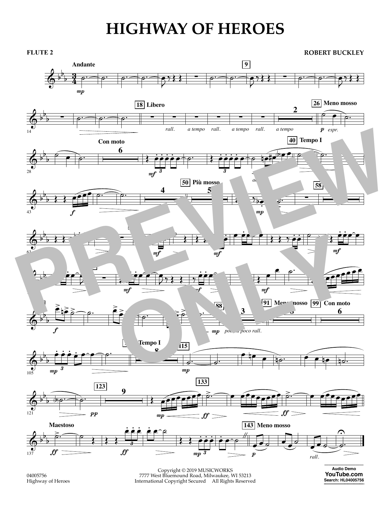 Robert Buckley Highway of Heroes - Flute 2 sheet music preview music notes and score for Concert Band including 1 page(s)