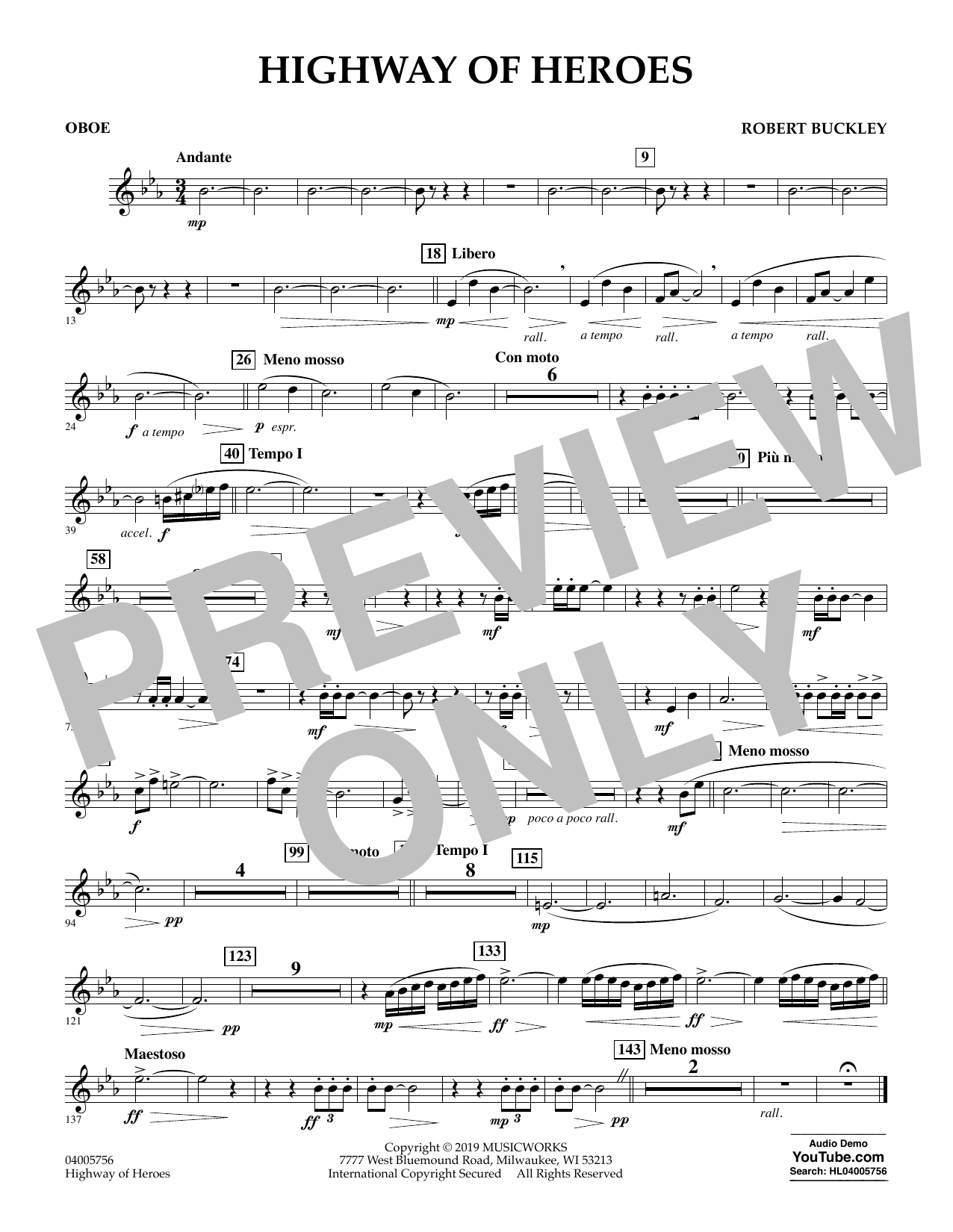 Robert Buckley Highway of Heroes - Oboe sheet music preview music notes and score for Concert Band including 1 page(s)