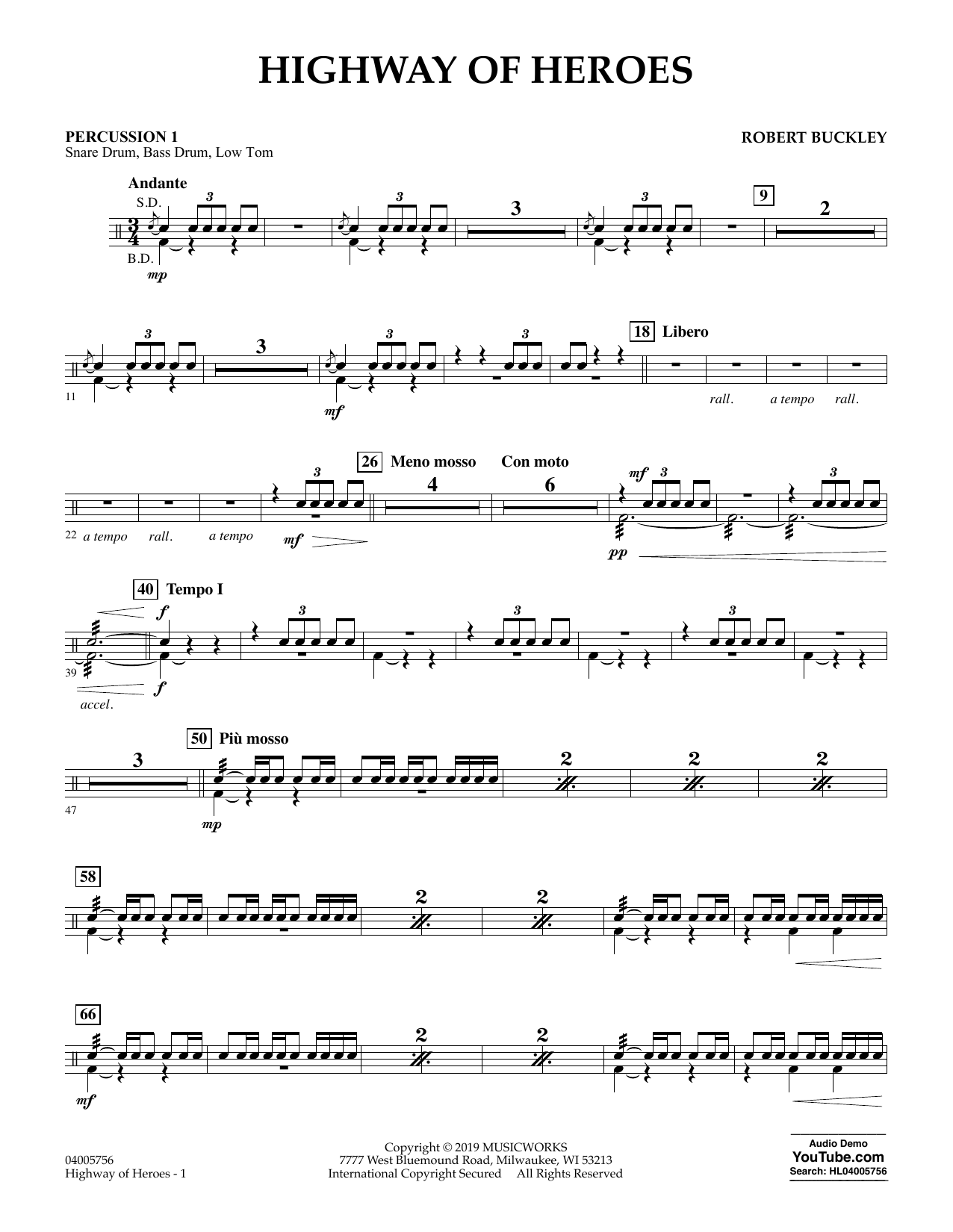 Robert Buckley Highway of Heroes - Percussion 1 sheet music preview music notes and score for Concert Band including 2 page(s)