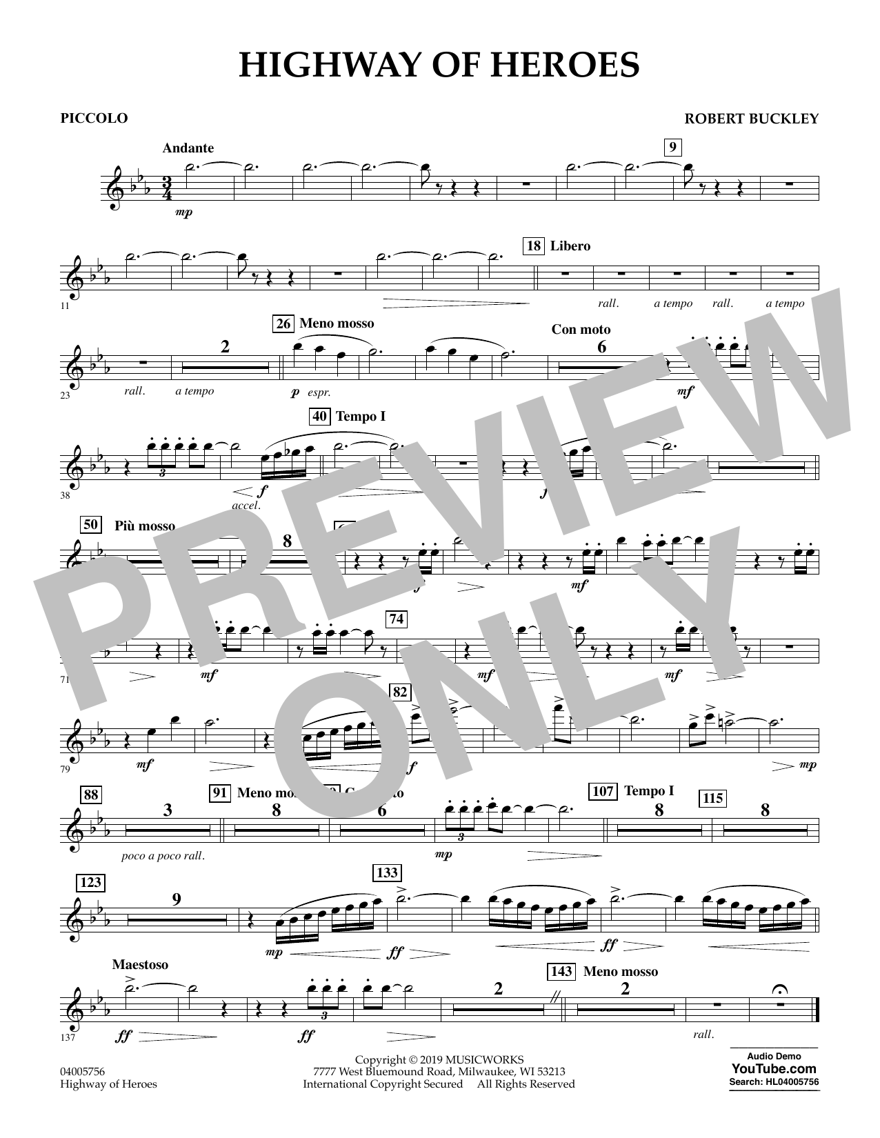 Robert Buckley Highway of Heroes - Piccolo sheet music preview music notes and score for Concert Band including 1 page(s)