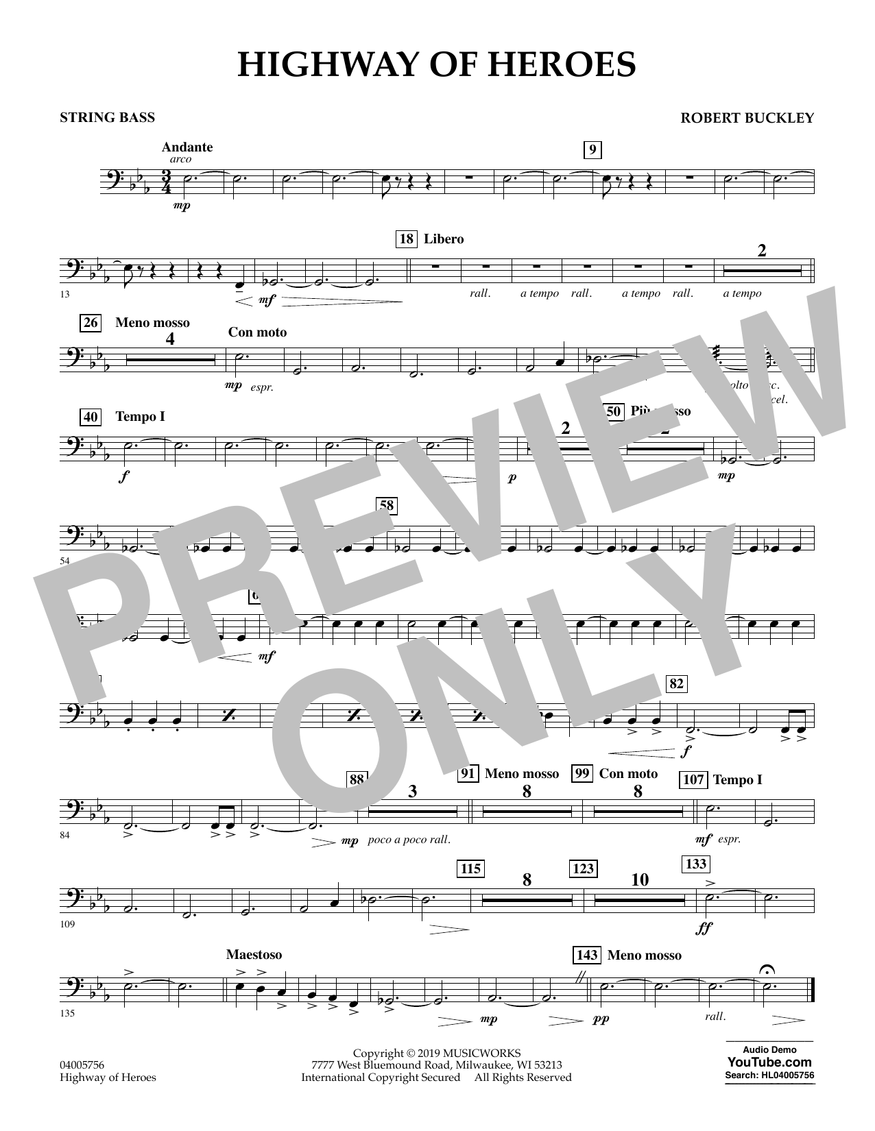 Robert Buckley Highway of Heroes - String Bass sheet music preview music notes and score for Concert Band including 1 page(s)
