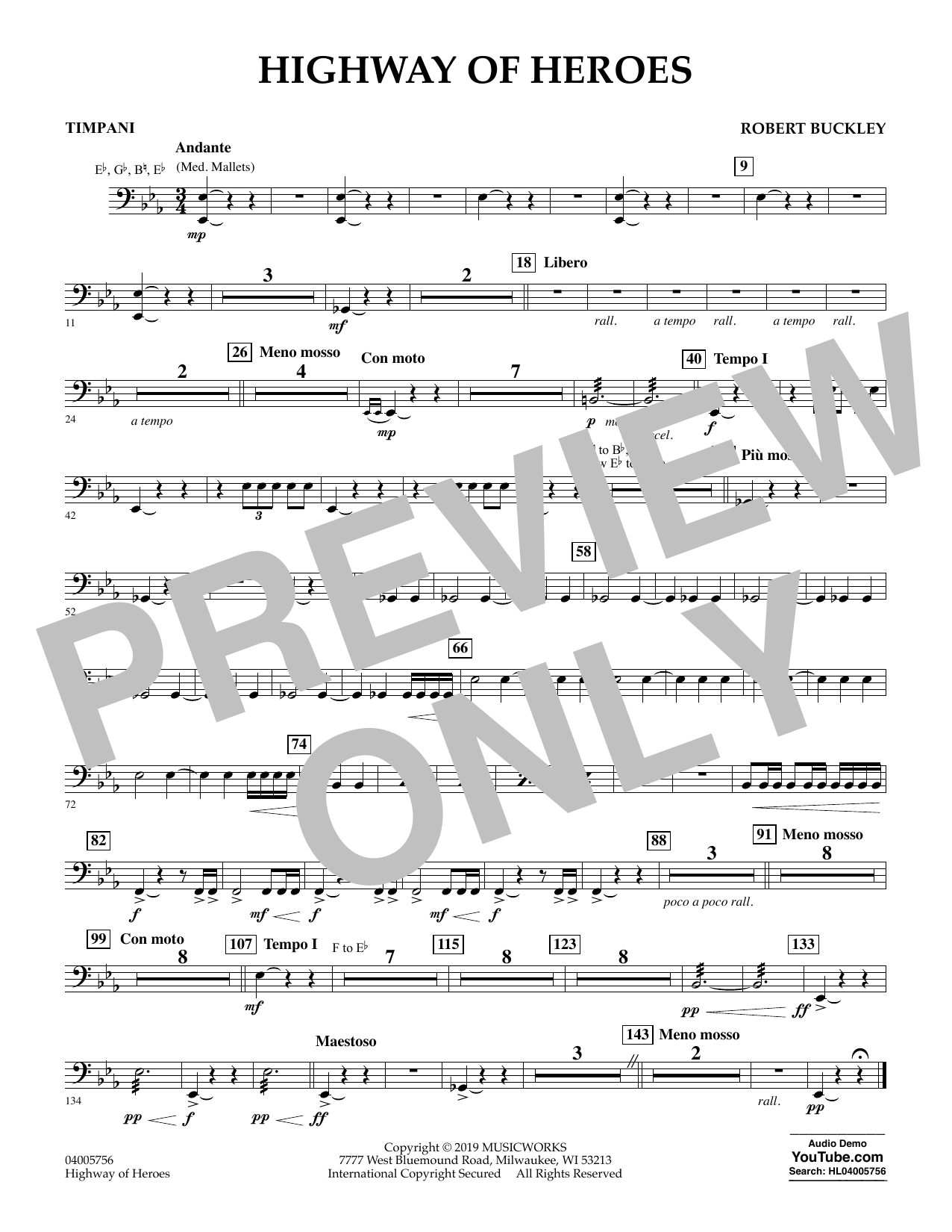 Robert Buckley Highway of Heroes - Timpani sheet music preview music notes and score for Concert Band including 1 page(s)