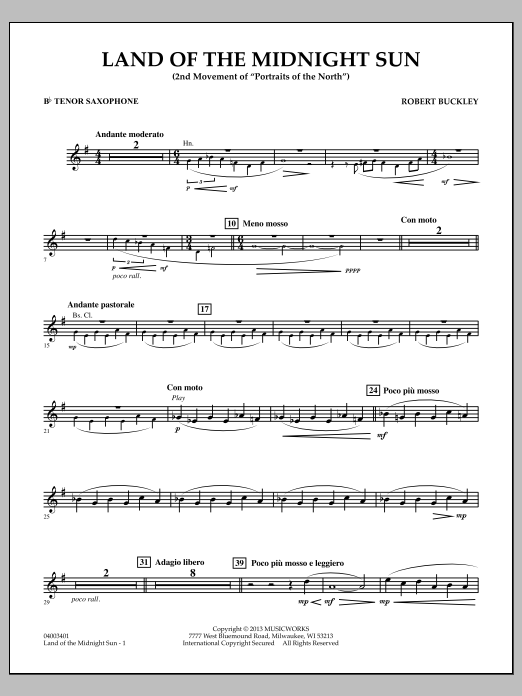 Robert Buckley Land of the Midnight Sun - Bb Tenor Saxophone sheet music notes and chords