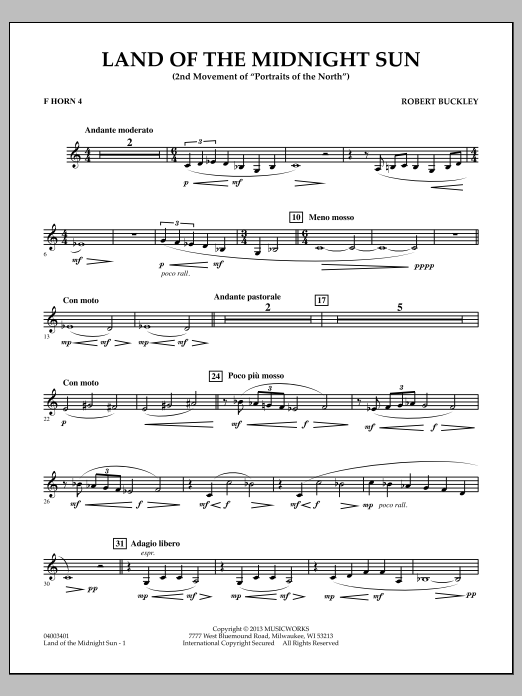Robert Buckley Land of the Midnight Sun - F Horn 4 sheet music notes and chords