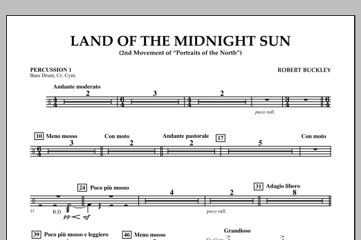 Robert Buckley Land of the Midnight Sun - Percussion 1 sheet music notes and chords