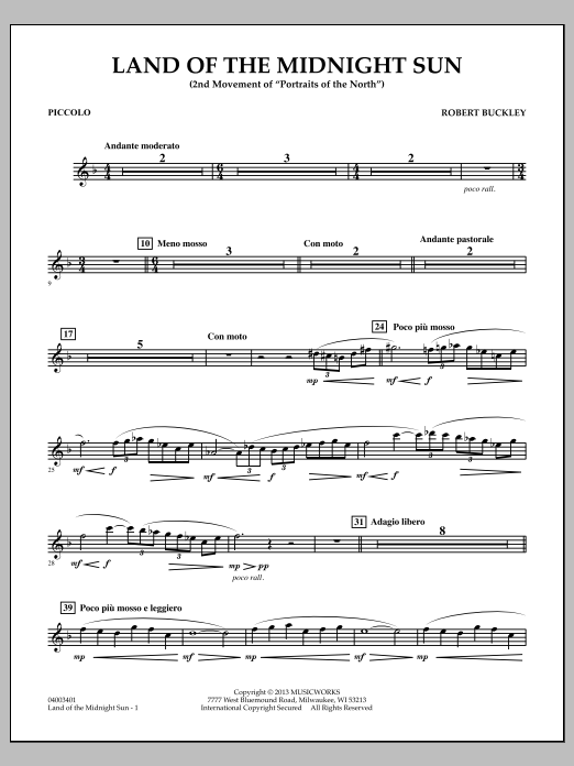 Robert Buckley Land of the Midnight Sun - Piccolo sheet music notes and chords