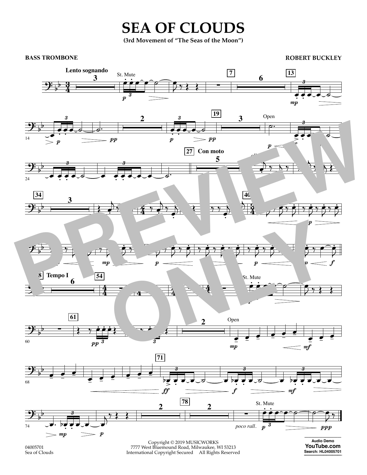 Robert Buckley Sea of Clouds - Bass Trombone sheet music preview music notes and score for Concert Band including 1 page(s)