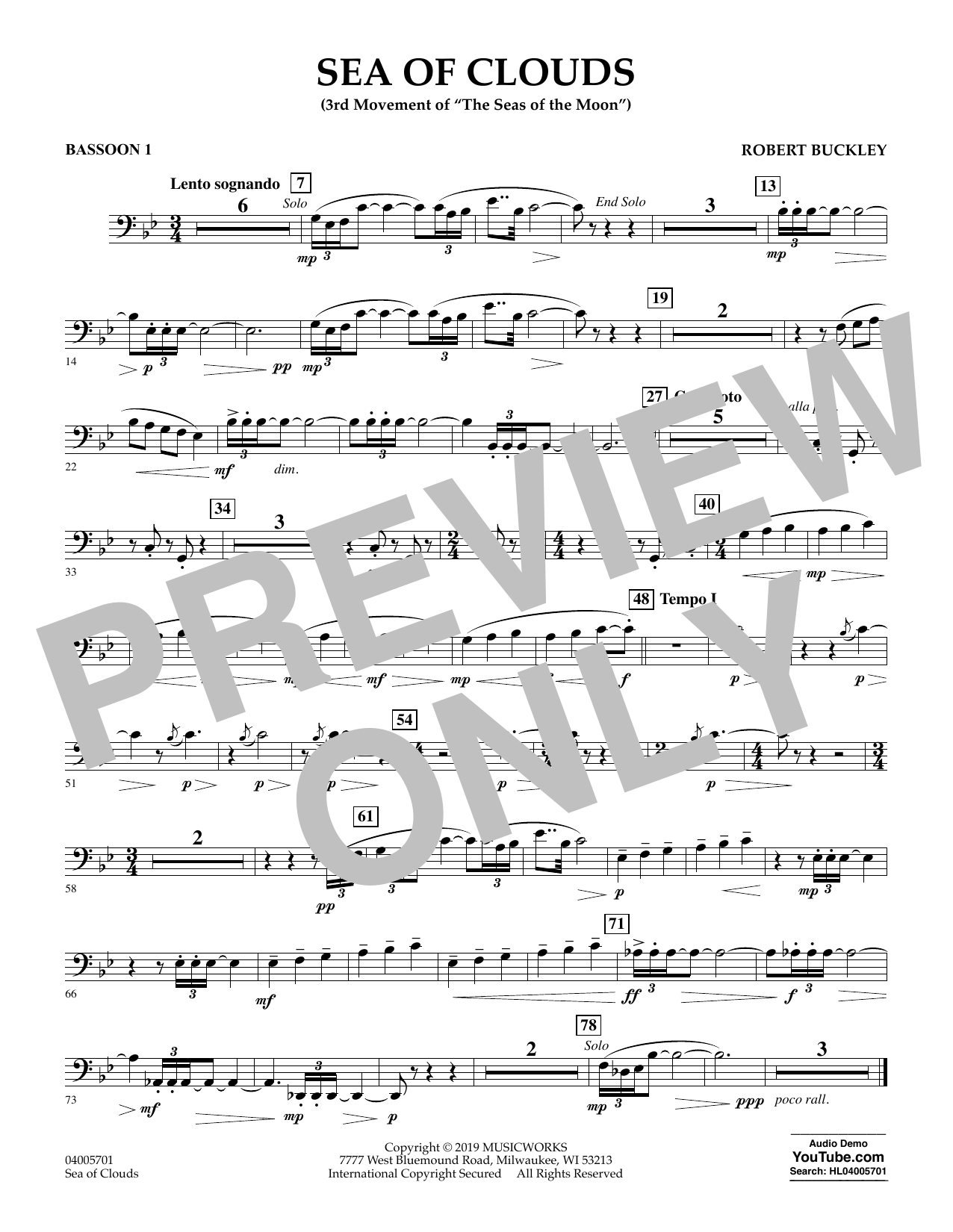 Robert Buckley Sea of Clouds - Bassoon 1 sheet music preview music notes and score for Concert Band including 1 page(s)