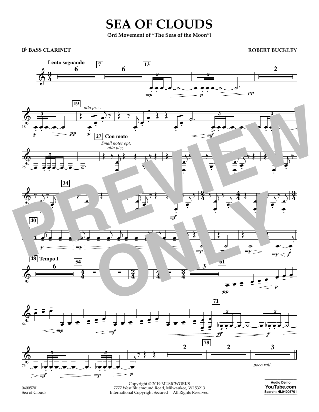 Robert Buckley Sea of Clouds - Bb Bass Clarinet sheet music preview music notes and score for Concert Band including 1 page(s)