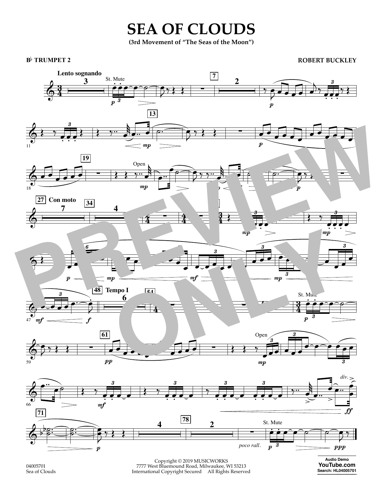 Robert Buckley Sea of Clouds - Bb Trumpet 2 sheet music preview music notes and score for Concert Band including 1 page(s)