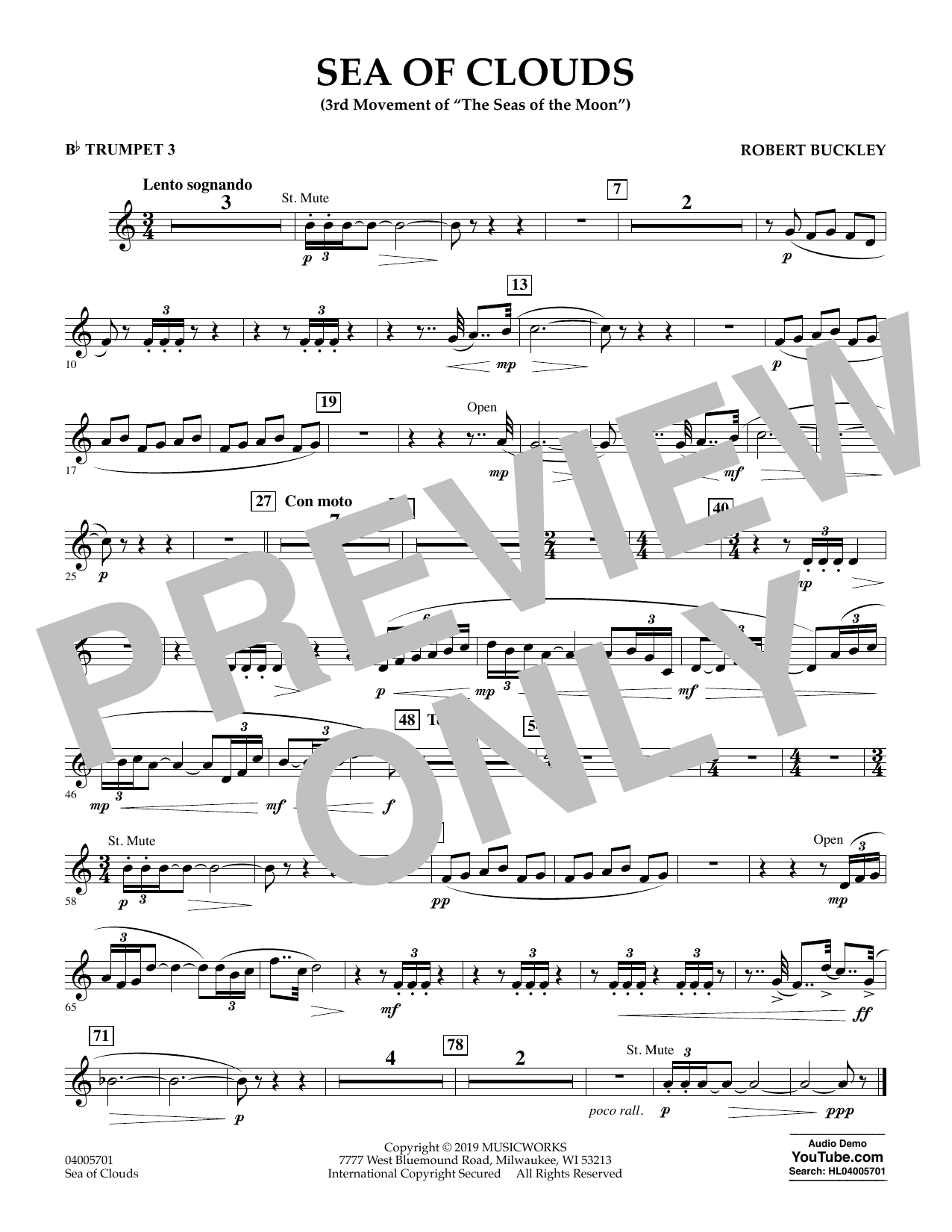 Robert Buckley Sea of Clouds - Bb Trumpet 3 sheet music preview music notes and score for Concert Band including 1 page(s)