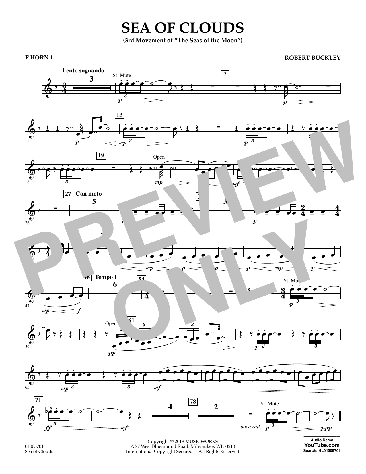 Robert Buckley Sea of Clouds - F Horn 1 sheet music preview music notes and score for Concert Band including 1 page(s)