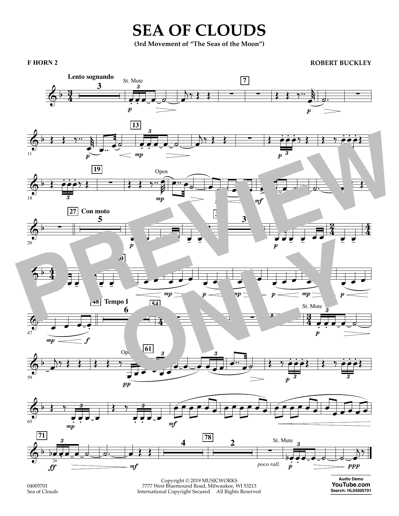 Robert Buckley Sea of Clouds - F Horn 2 sheet music preview music notes and score for Concert Band including 1 page(s)