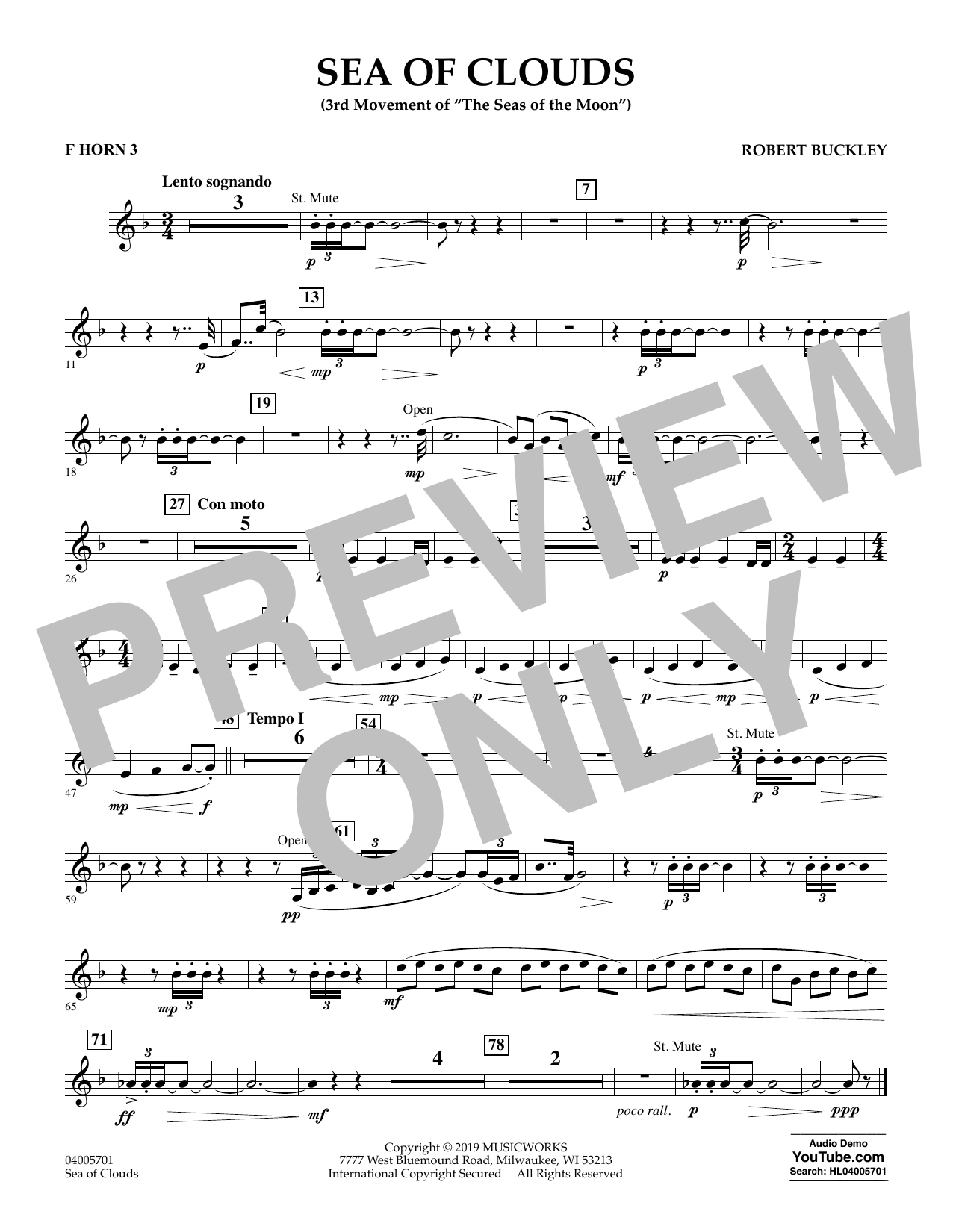 Robert Buckley Sea of Clouds - F Horn 3 sheet music preview music notes and score for Concert Band including 1 page(s)