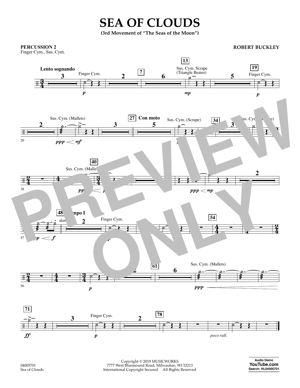 Robert Buckley Sea of Clouds - Percussion 2 sheet music preview music notes and score for Concert Band including 1 page(s)