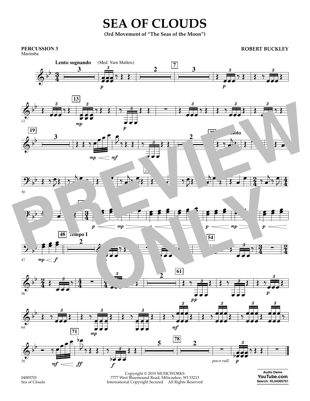 Robert Buckley Sea of Clouds - Percussion 3 sheet music preview music notes and score for Concert Band including 1 page(s)