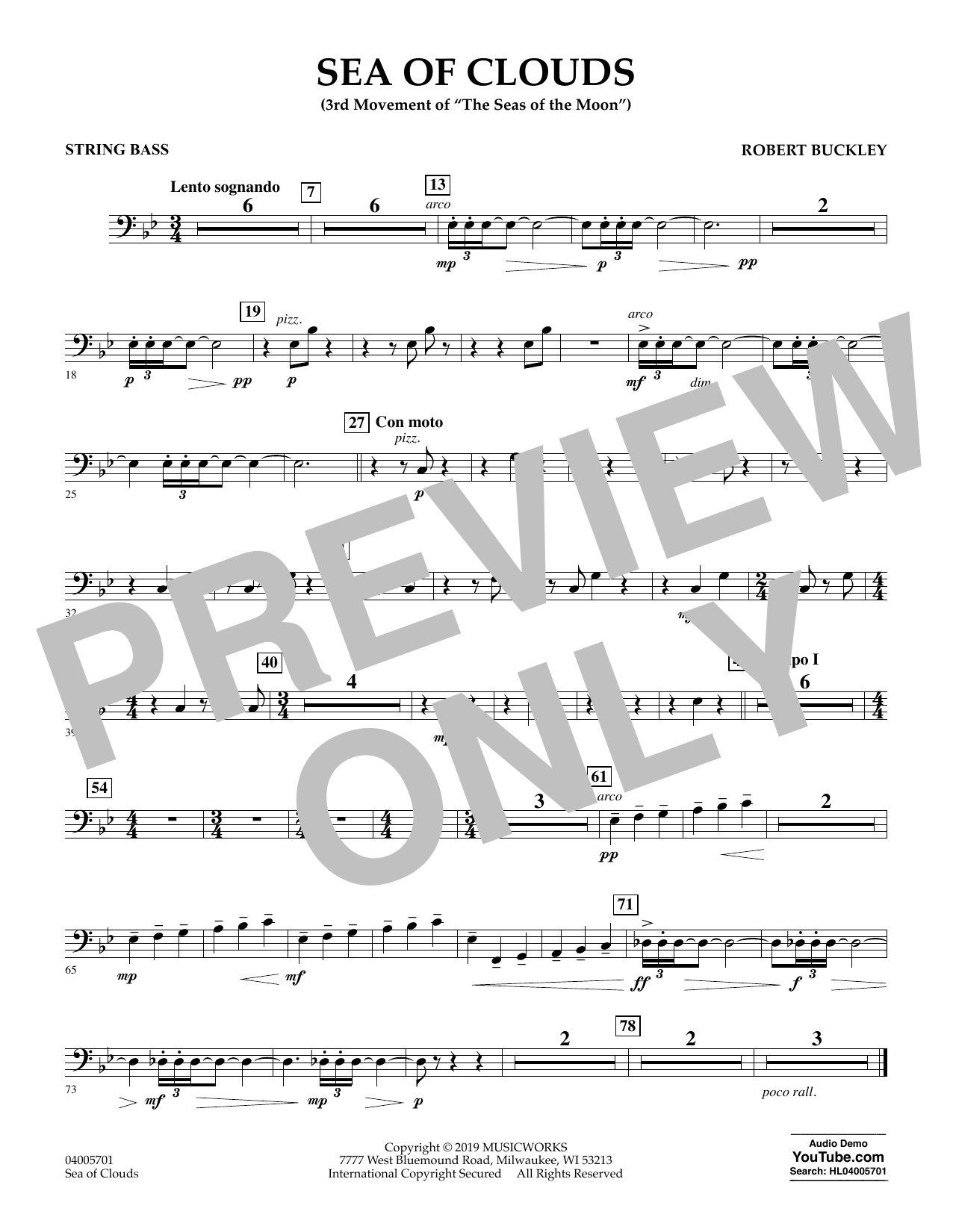 Robert Buckley Sea of Clouds - String Bass sheet music preview music notes and score for Concert Band including 1 page(s)