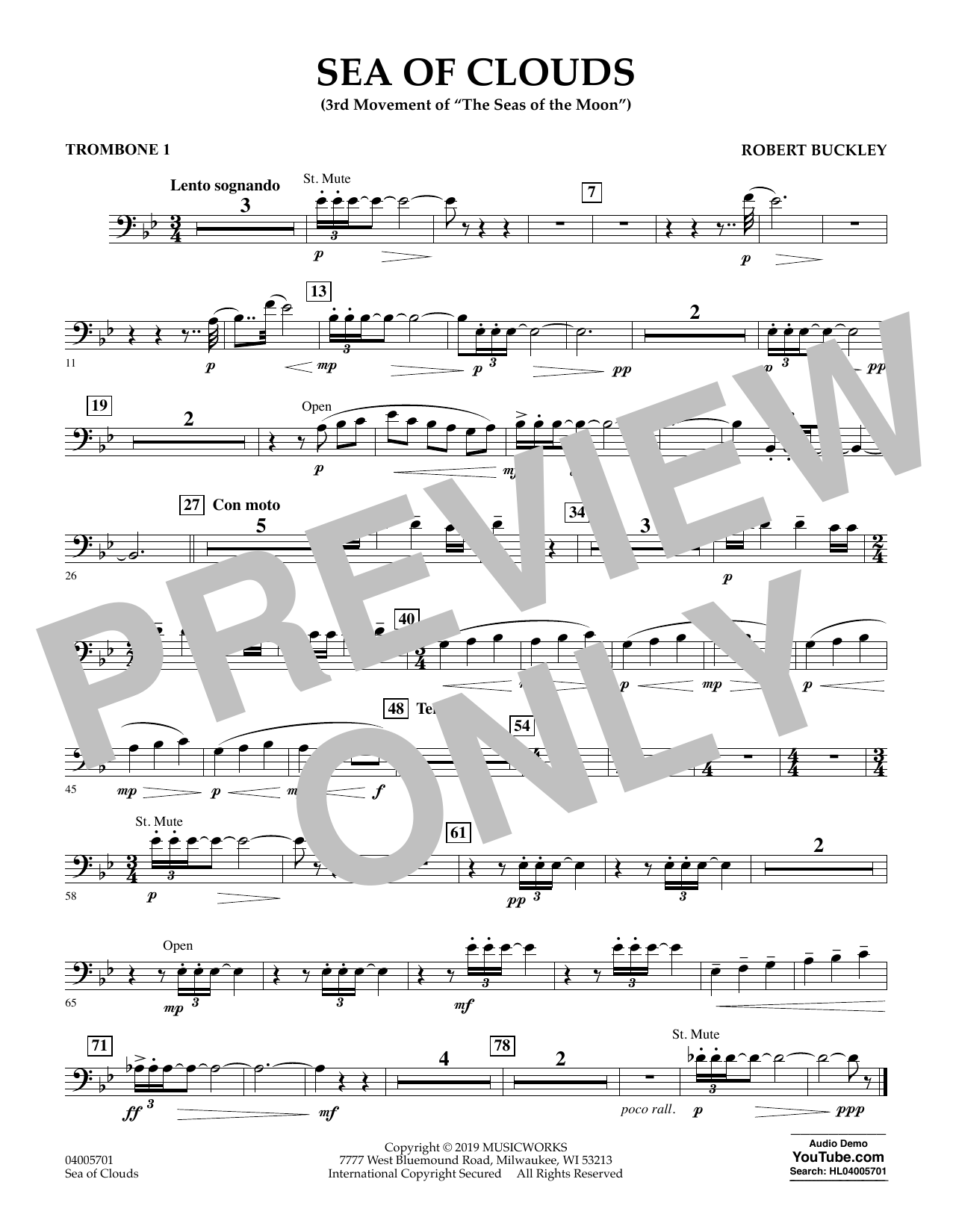 Robert Buckley Sea of Clouds - Trombone 1 sheet music preview music notes and score for Concert Band including 1 page(s)