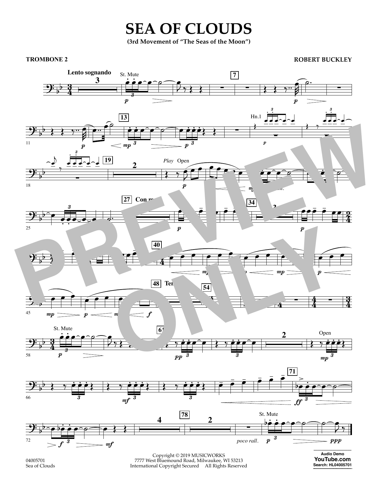 Robert Buckley Sea of Clouds - Trombone 2 sheet music preview music notes and score for Concert Band including 1 page(s)