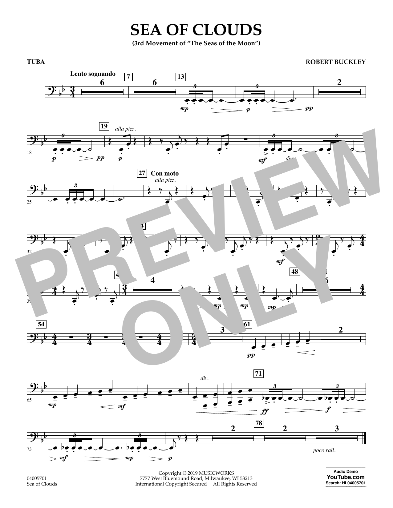 Robert Buckley Sea of Clouds - Tuba sheet music preview music notes and score for Concert Band including 1 page(s)