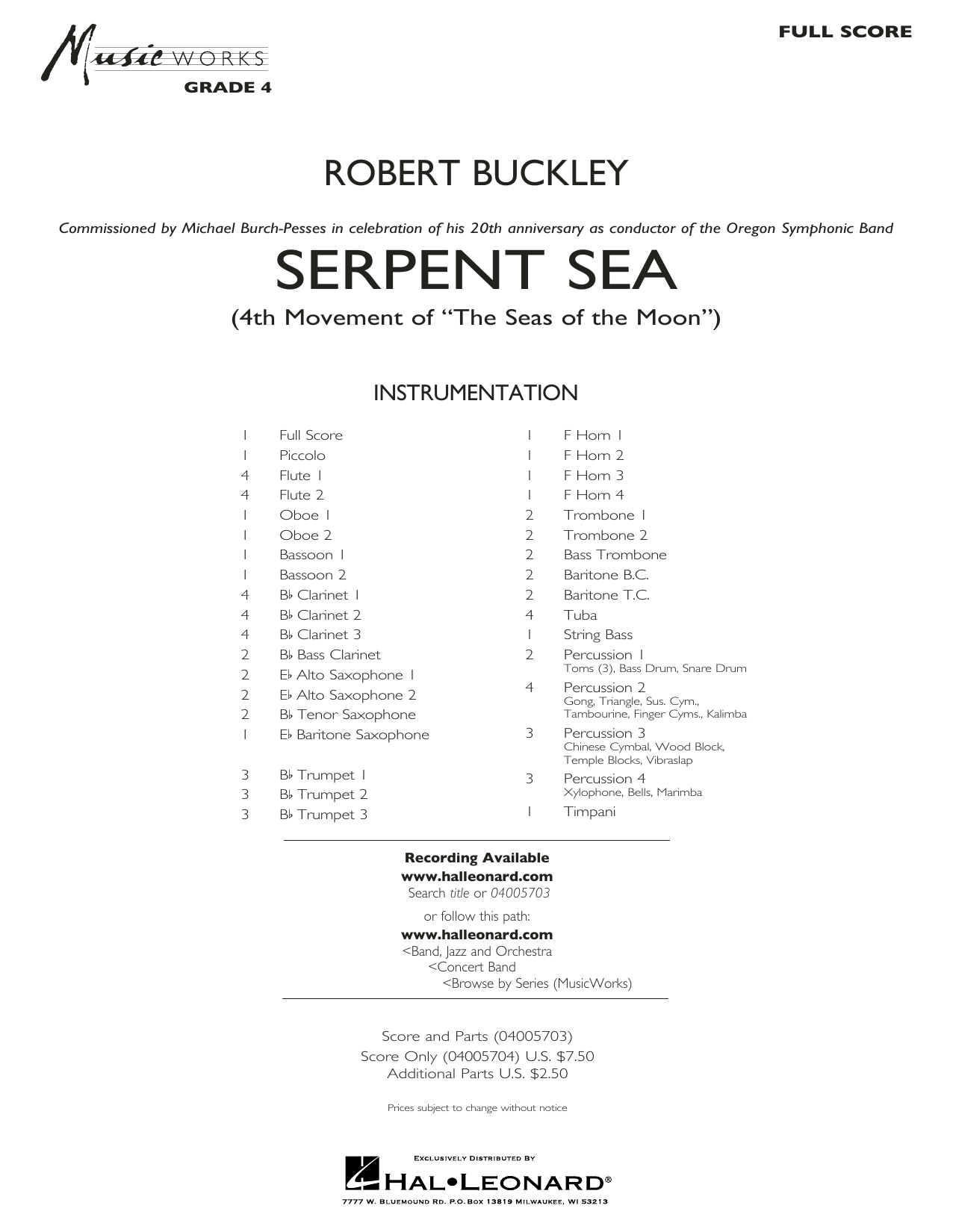 Robert Buckley Serpent Sea - Conductor Score (Full Score) sheet music preview music notes and score for Concert Band including 20 page(s)