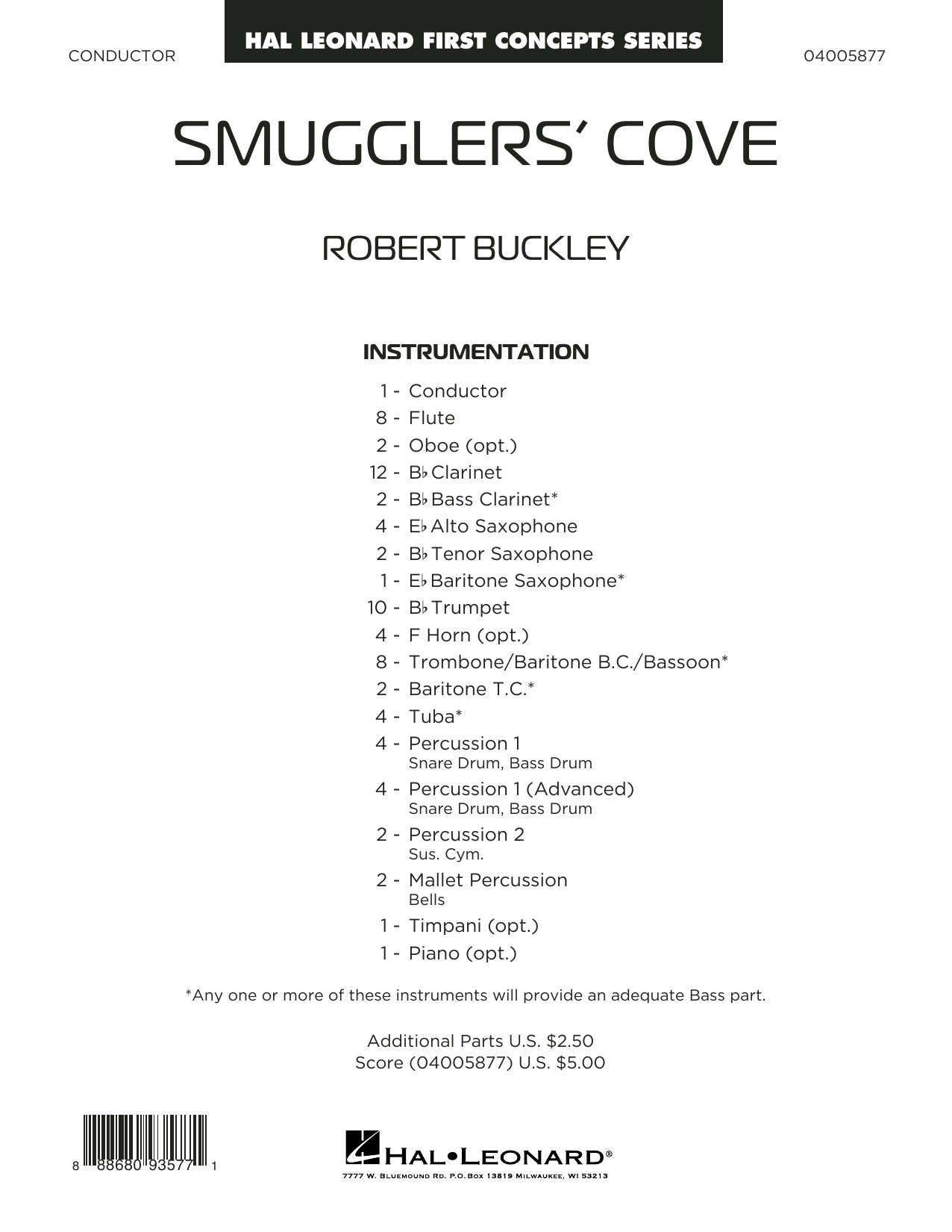 Robert Buckley Smugglers' Cove - Conductor Score (Full Score) sheet music preview music notes and score for Concert Band including 10 page(s)