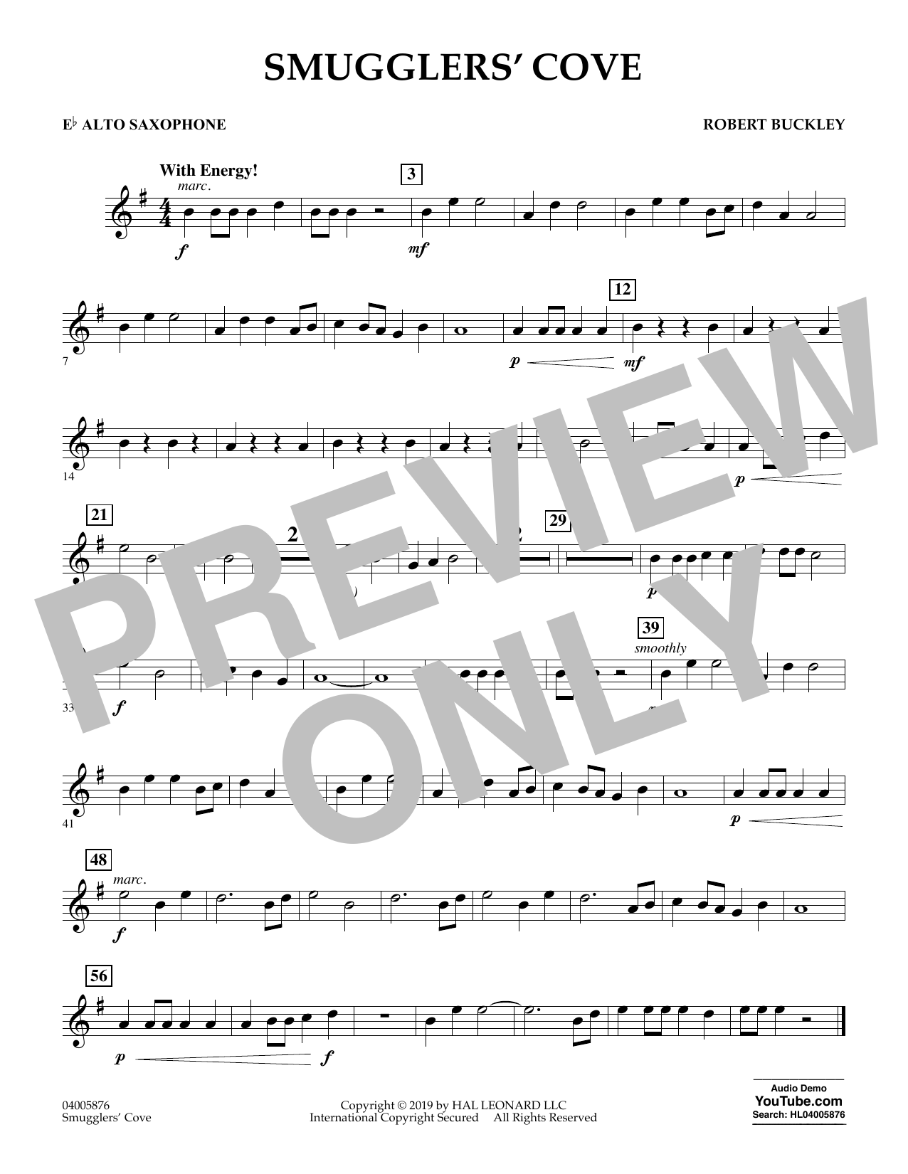 Robert Buckley Smugglers' Cove - Eb Alto Saxophone sheet music preview music notes and score for Concert Band including 1 page(s)