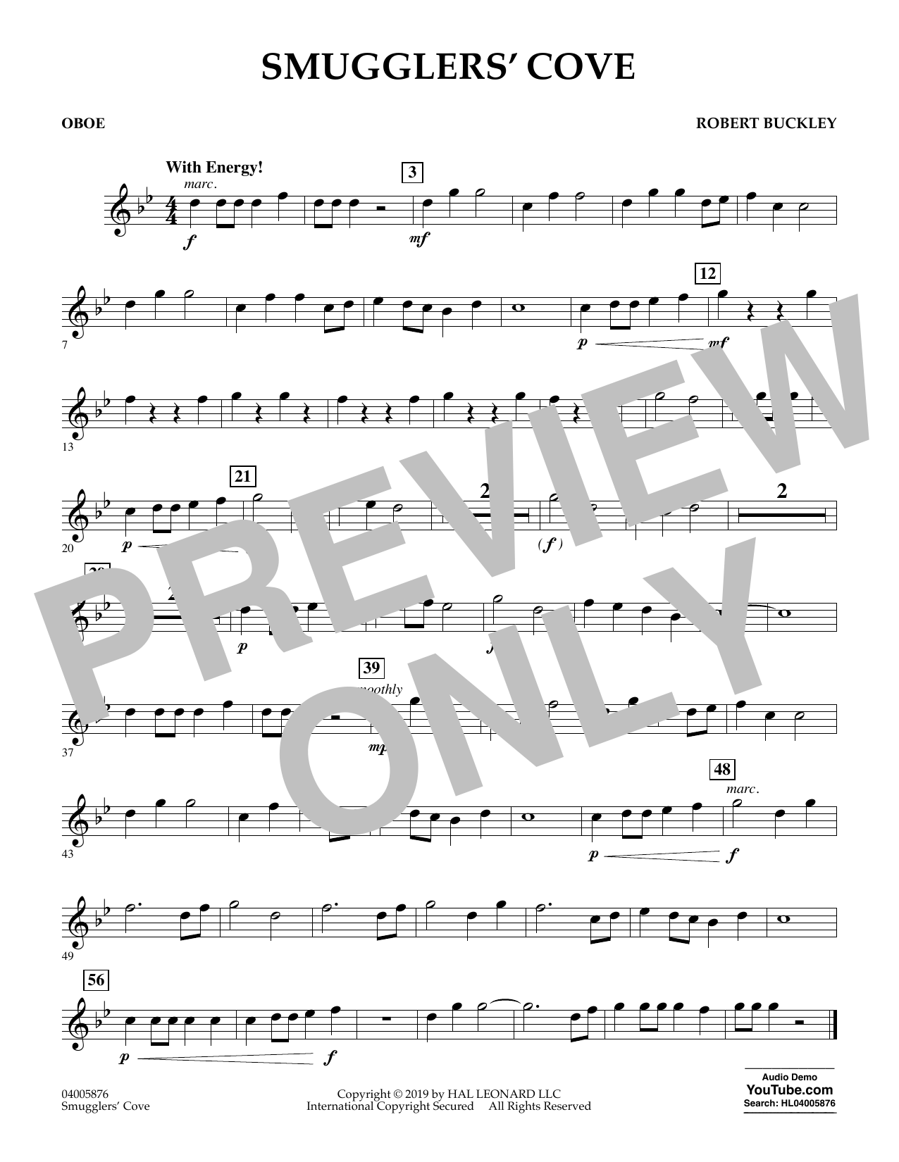 Robert Buckley Smugglers' Cove - Oboe sheet music preview music notes and score for Concert Band including 1 page(s)